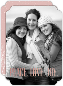 Rose Gold Foil and Snow Holiday Photo Card