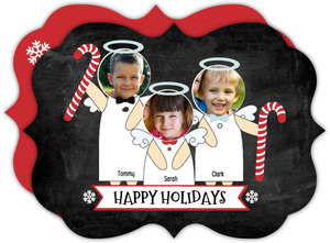 Candy Cane Stripes and Red Angels Holiday Photo Card