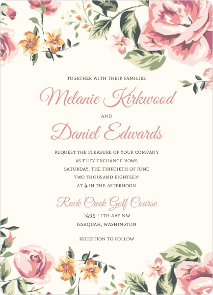 Floral garden wedding invitation vintage wedding invitations for Garden wedding invitation designs