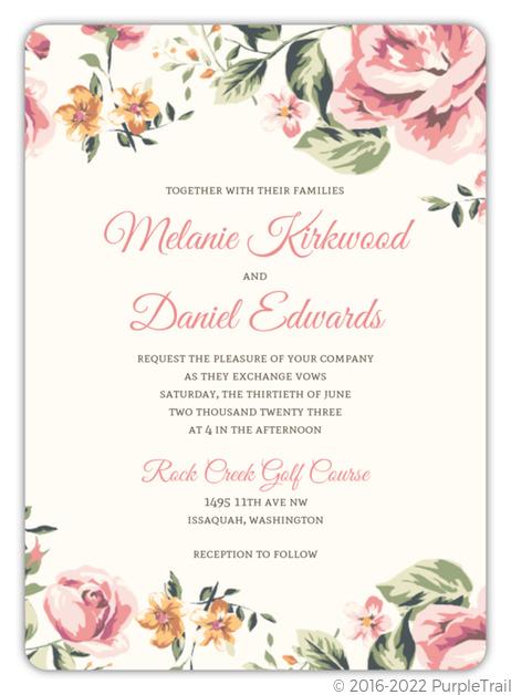 Floral Garden Wedding Invitation Vintage Wedding Invitations