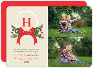 Whimsical Red and Green Berries Holiday Photo Card