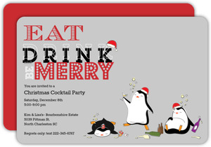 Drunk Penguins Holiday Party Invitation