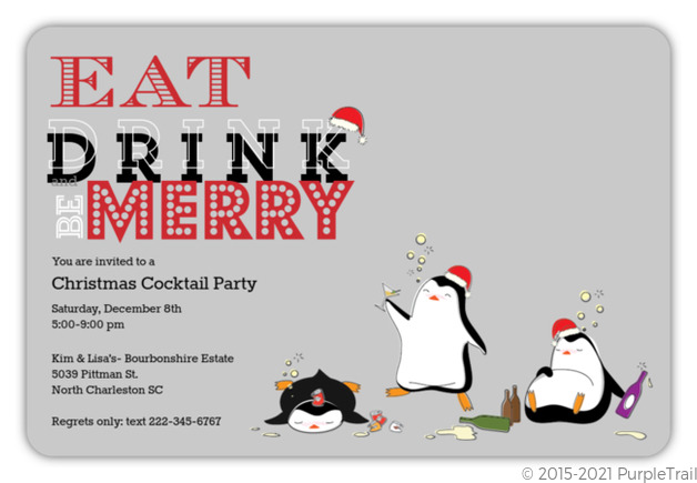 Drunk Penguins Holiday Party Invitation Holiday Party Invitations