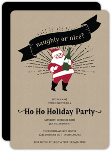 Vintage Festive Santa Holiday Party Invitation