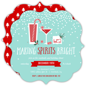 Festive Peppermint Cocktails Holiday Party Invitation