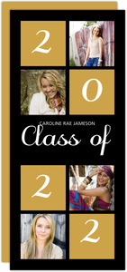 Gold and Black Blocks Graduation Invitation