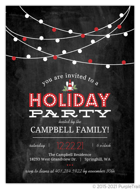 red streaming lights chalkboard holiday party invitation holiday