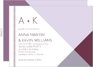 Modern Lavender Monogram Wedding Invitation