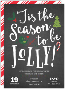 Chalkboard Jolly Cheer Holiday Printable Party Invitation