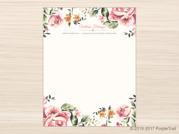 pink floral frame letter writing paper letter writing paper