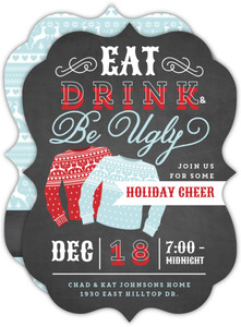 Red and Blue Festive Sweaters Holiday Party Invitation