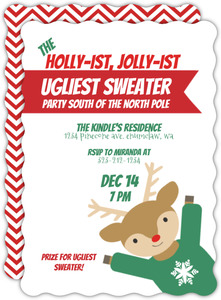 Holliest Jolliest Ugliest Sweater Holiday Party Invitation