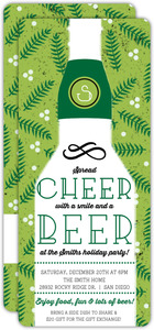 Green Holly Cheers and Beers Holiday Party Invitation