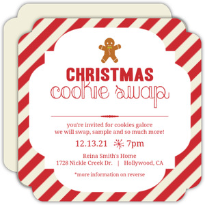 Red And Cream Stripes Cookie Swap Party