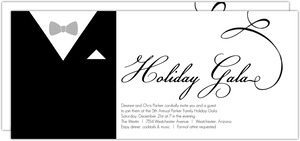 Black and White Classic Tuxedo Holiday Party Invitation