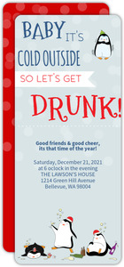 Lets Get Drunk Cute Christmas Party Invitation