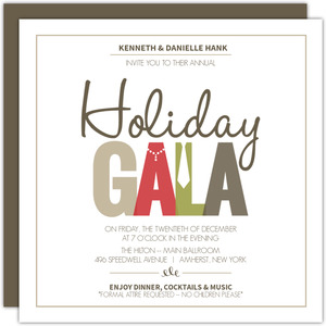 Pearls And Tie Formal Wear Holiday Party Invitation