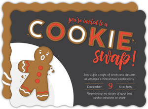 Gingerbread Icing Cookie Swap Holiday Party Invitation
