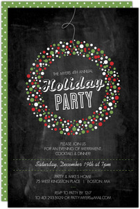 Festive Hanging Wreath Holiday Party Invitation