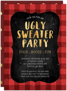 Plaid And Chalk Ugly Sweater Party Invitation