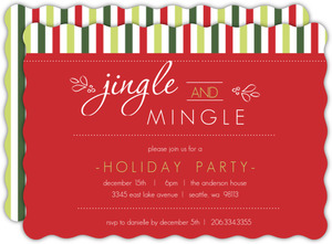Classic Holiday Stripes Party Invitation