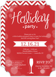 Red Bright Bubbly Bubbles Holiday Party Invitation