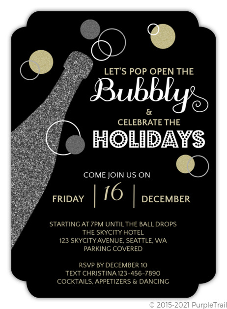Gold And Silver Glitter Bubbly Champagne Holiday Party Invitation