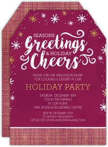 Festive Eat Drink Be Merry Holiday Party Invitation