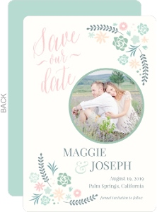 Succulent Floral Save The Date Announcement