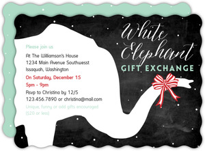 Red Striped Bow White Elephant Party Invitation