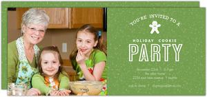 Green Family Photo Cookie Party Invitation