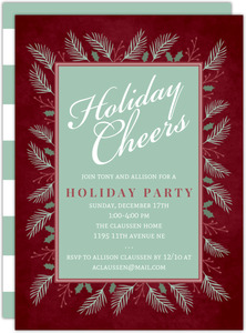 Wintergreen Frame Holiday Party Invitation