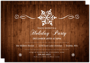 Wood Grain Elegant Snowflake Holiday Party Invite