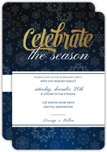 Blue Snowflakes Holiday Party Invitation