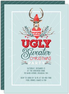 Ugly Sweater Deer Holiday Party Invitation