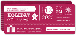 Burgundy and White Modern Holiday Party Invite