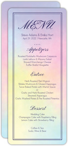 Rainbow Watercolor Wedding Menu Card