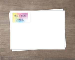 Rainbow Watercolor Wedding Envelope