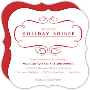 Elegant Red Frame Holiday Party Invitation
