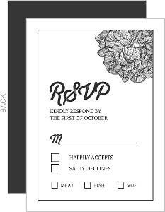 Fancy Cornered Flower Wedding Response Card