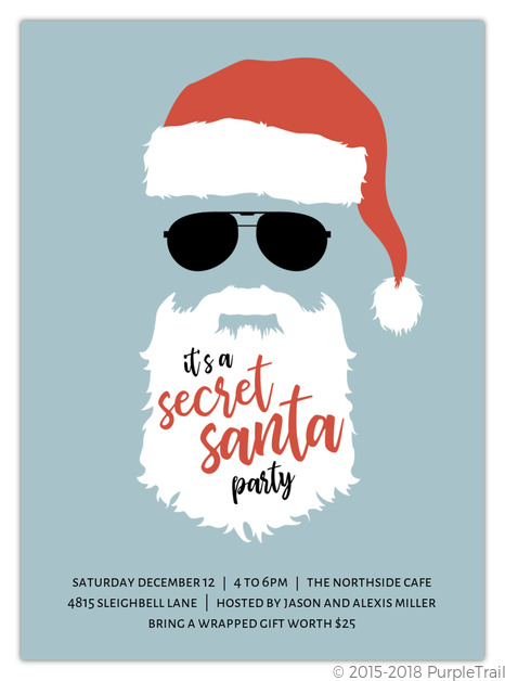 Top secret santa red holiday party invitation holiday for Secret santa email template