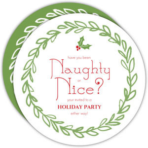 Wreath Naughty or Nice Holiday Party Invitation