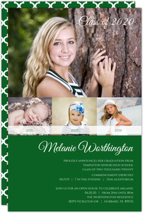 Green Photo Timeline Graduation Invitation
