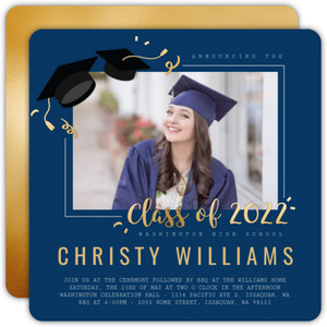 Simple Faux Foil Graduation Photo Announcement