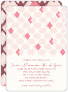 Pink Ikat Pattern Wedding Invitation