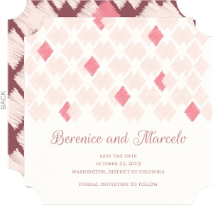Pink Ikat Pattern Save the Date Announcement
