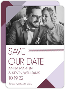 Modern Lavender Monogram Save the Date Announcement