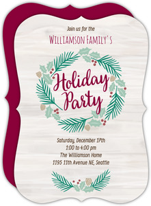 Rustic Pine Wreath Holiday Party Invitation