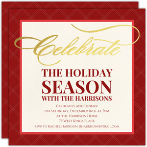 Classic Red Season's Greetings Gold Foil Holiday Party Invitation