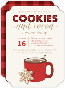 Plaid Cookies and Cocoa Cookie Swap Holiday Party Invitation